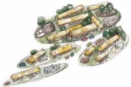 schetsimpressie vogelvlucht Inheems-Romeins cluster